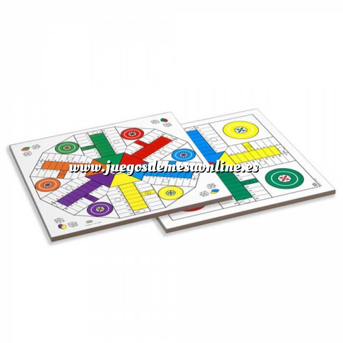 Imagen Parchís y Oca Tablero parchís 4 y 6 jugadores con fichas y dados. 40x40 cm