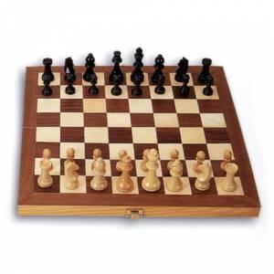 Ajedrez y damas - Ajedrez Plegable en madera. 43x43 cms.