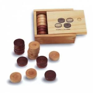 Ajedrez y damas - Fichas para juego de damas en madera
